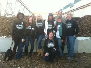 Prof. King and her AMST 422 students at the grand opening of Chesapeake Compost Works.